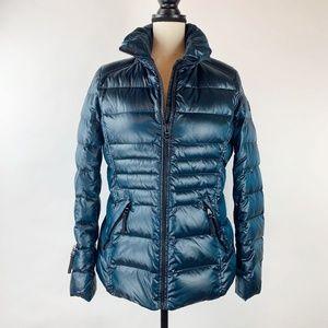 Andrew Marc Puffer Teal Blue Zip Jacket